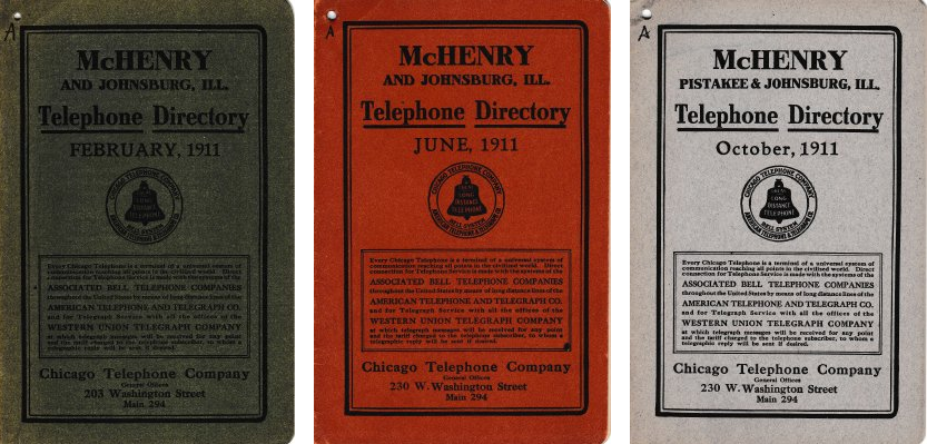 Screenshot of McHenry telephone directory covers