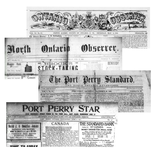 Four Port Perry area newspaper mastheads overlapping